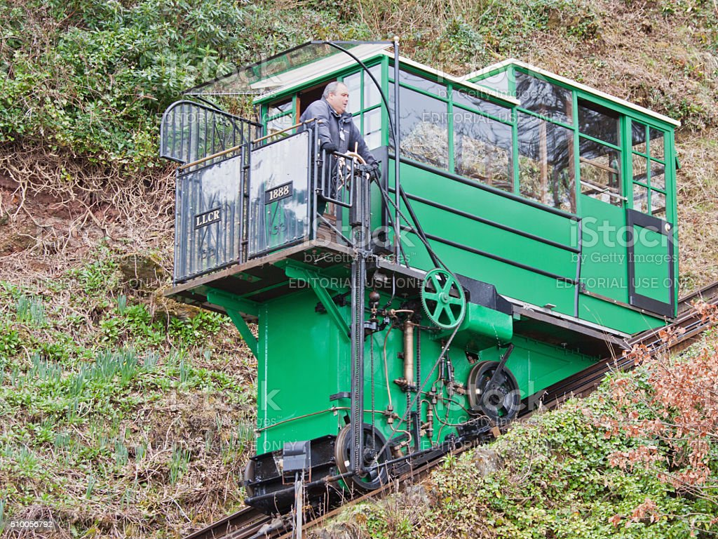 Funicular railway carriage travelling between Lynton and Lynmouth UK stock photo