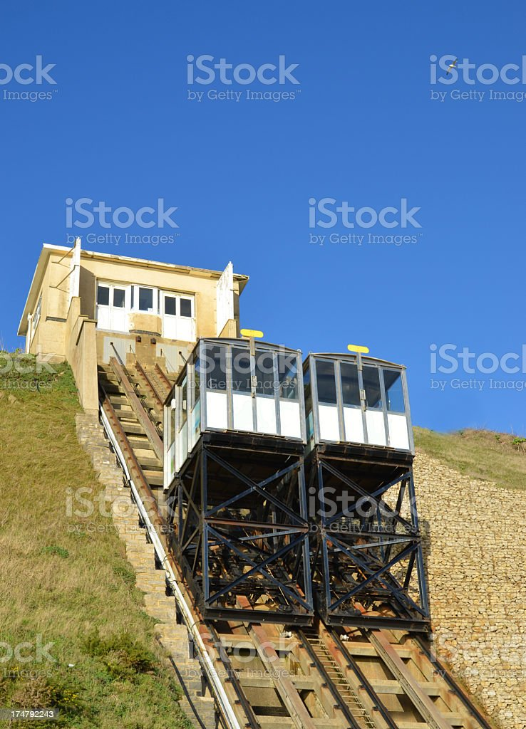 Funicular railway, cliff lift, at Fisherman's Walk in Southbourne stock photo