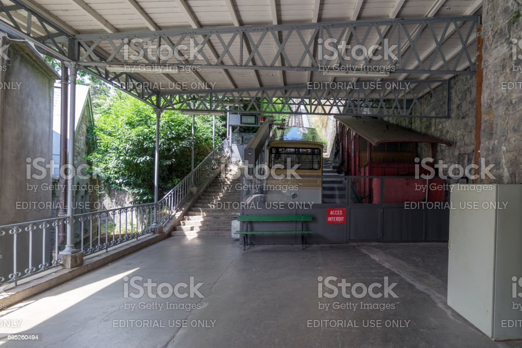 Funicular railway in Montreux., Switzerland stock photo