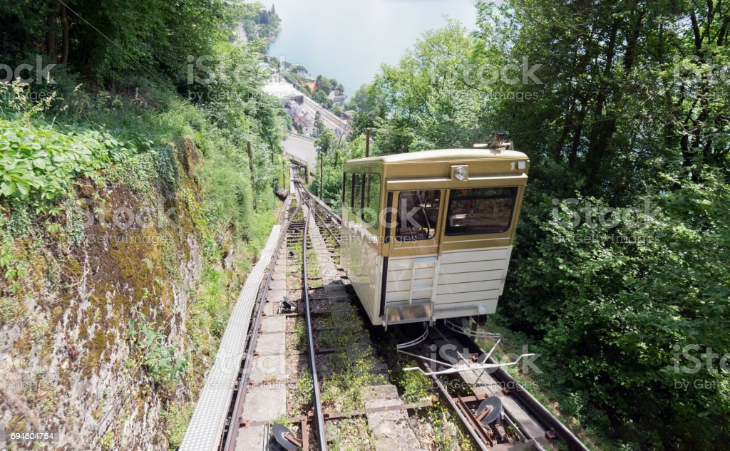 Funicular railway in Switzerland stock photo