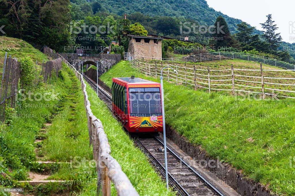 Funicular railway of to Monte San Salvatore Lugano stock photo
