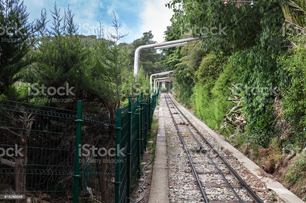 Funicular railway to mount Tibidabo in Barcelona, Spain stock photo