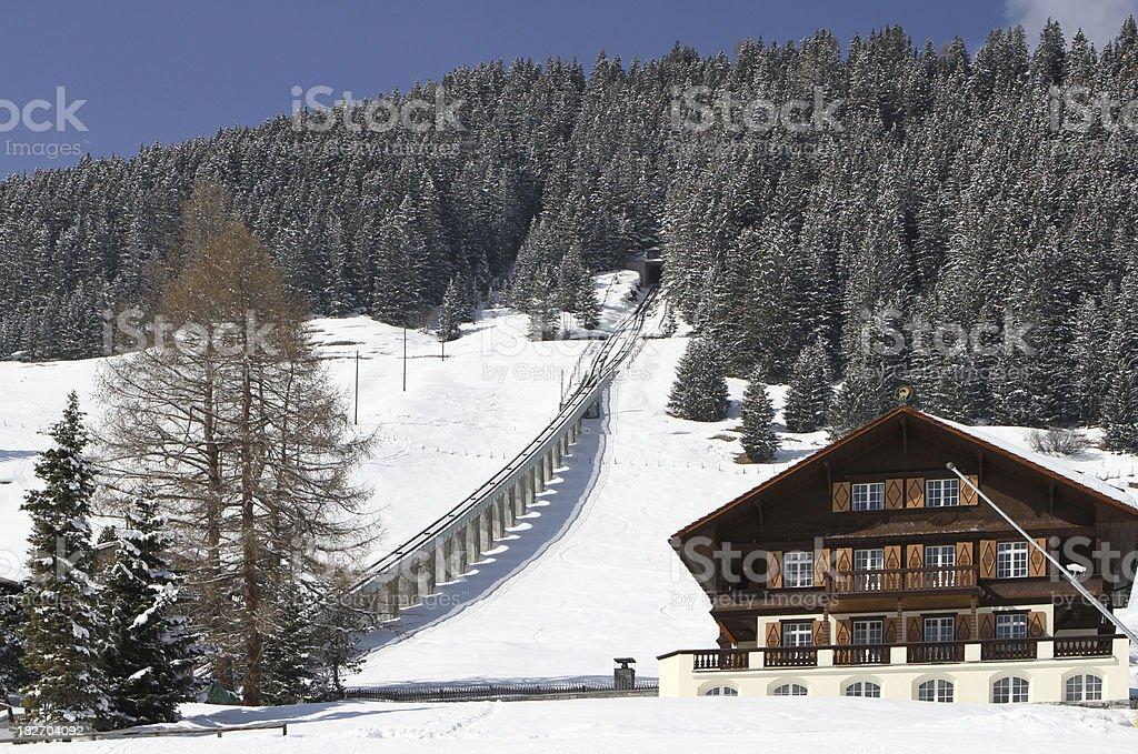 Funicular railway to the summit of Allmendhubel, Murren, Switzerland royalty-free stock photo