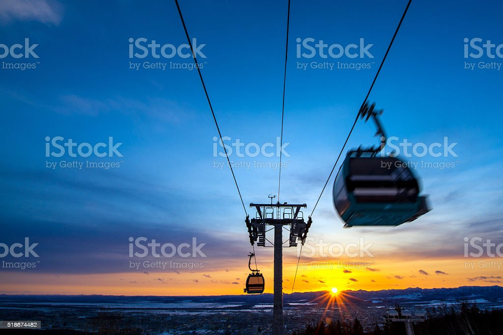 Funicular to the top stock photo