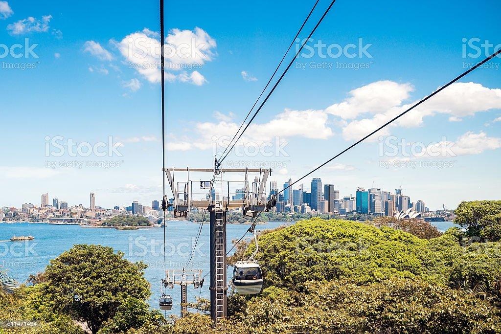 Funiculars above Taronga Zoo stock photo