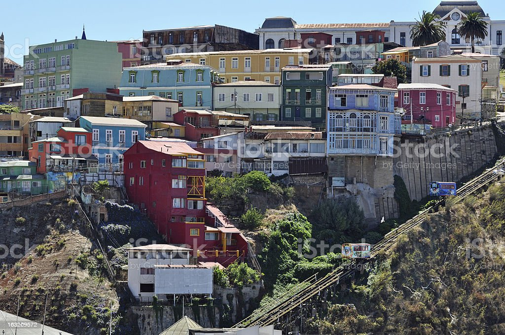 Funiculars and colourful houses of Valparaiso stock photo