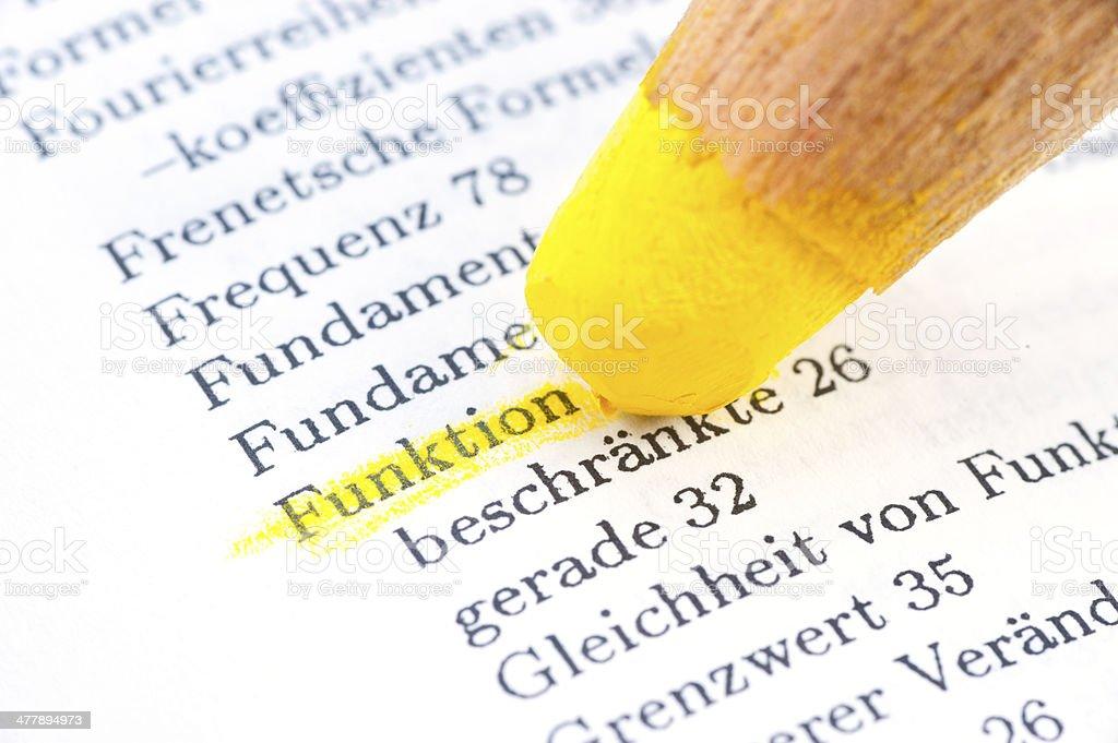 funktion definition gelb im W?rterbuch markiert stock photo
