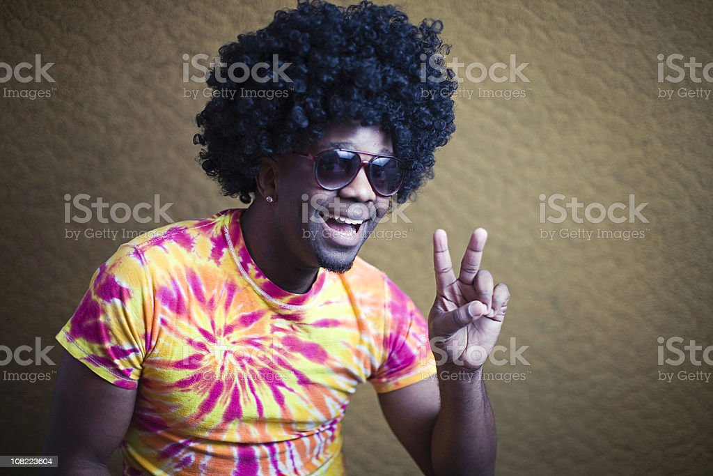 Funky African American Hippy with Afro royalty-free stock photo