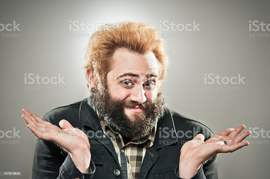 Funky Bearded Guy Says Don't Ask Me royalty-free stock photo