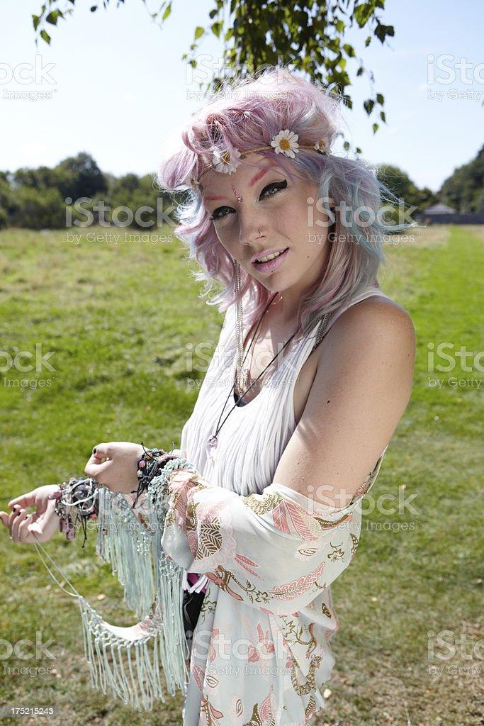 Funky Bohemian girl stock photo