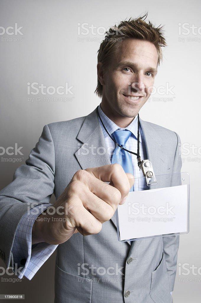 Funky Businessman w Name Tag stock photo