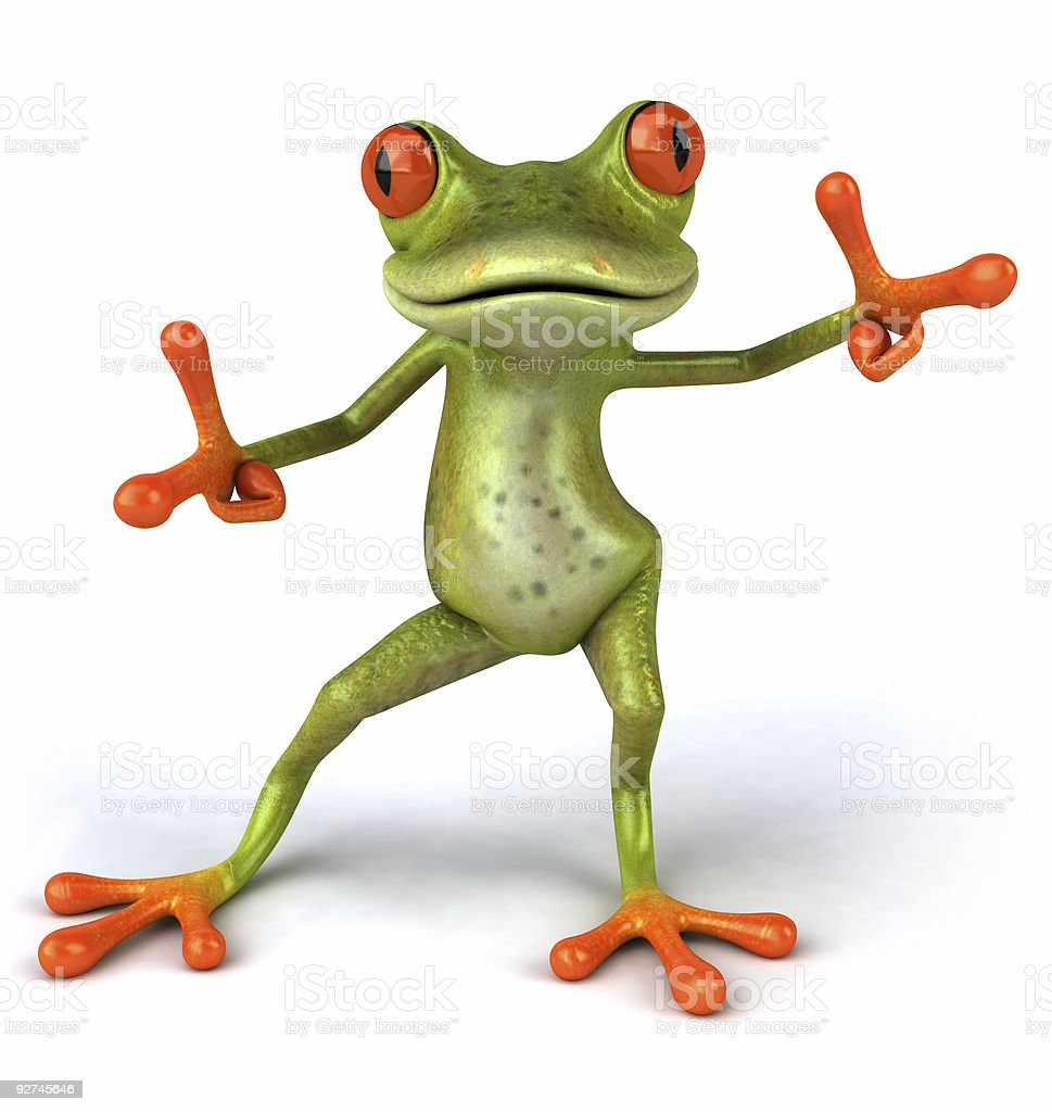 Funky frog toy standing on the white color background stock photo