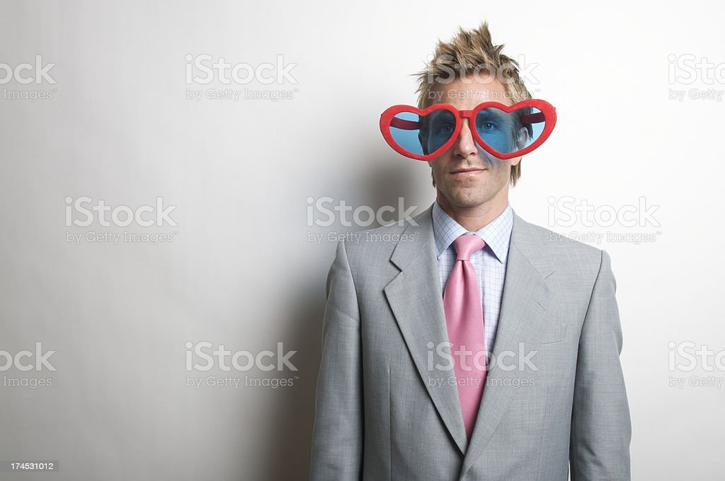 Funky Guy with Heart Shades stock photo