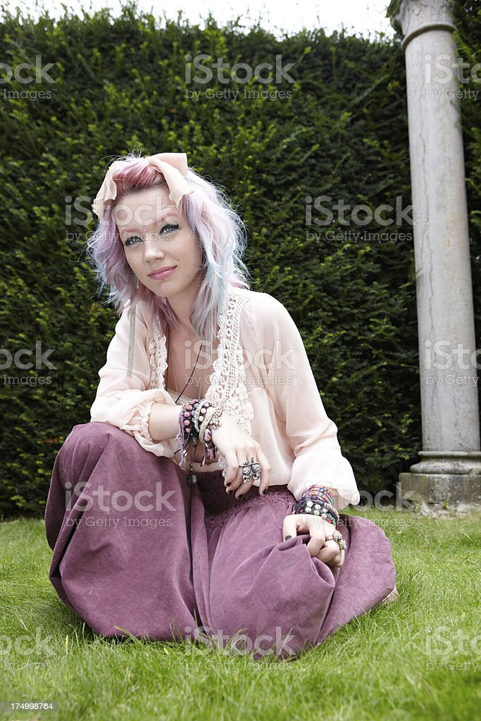 Funky Hippy Woman with pink and purple hair royalty-free stock photo