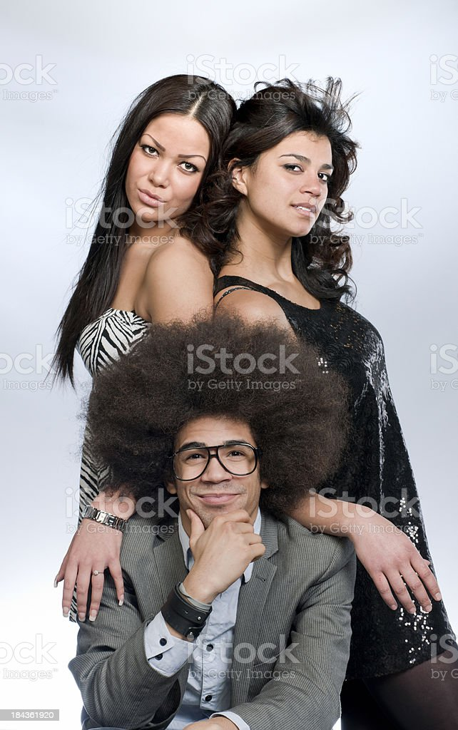 'funky man and two attractive women, XXXL image' stock photo