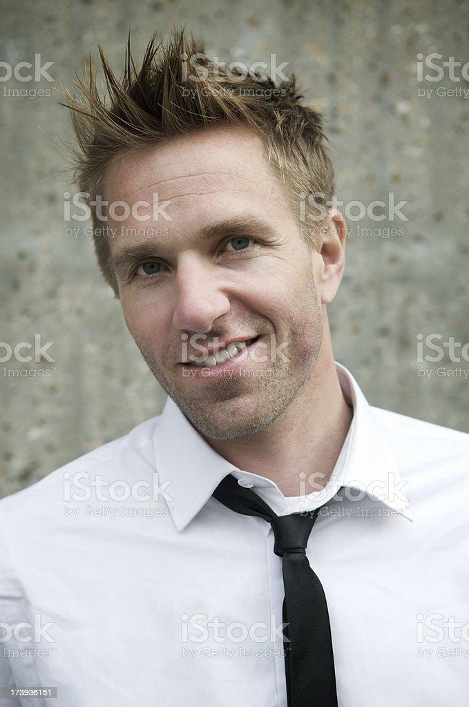 Funky Spiky Hair Guy Portrait stock photo