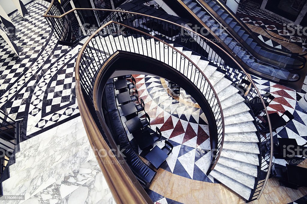 funky staircase luxury shopping mall berlin royalty-free stock photo