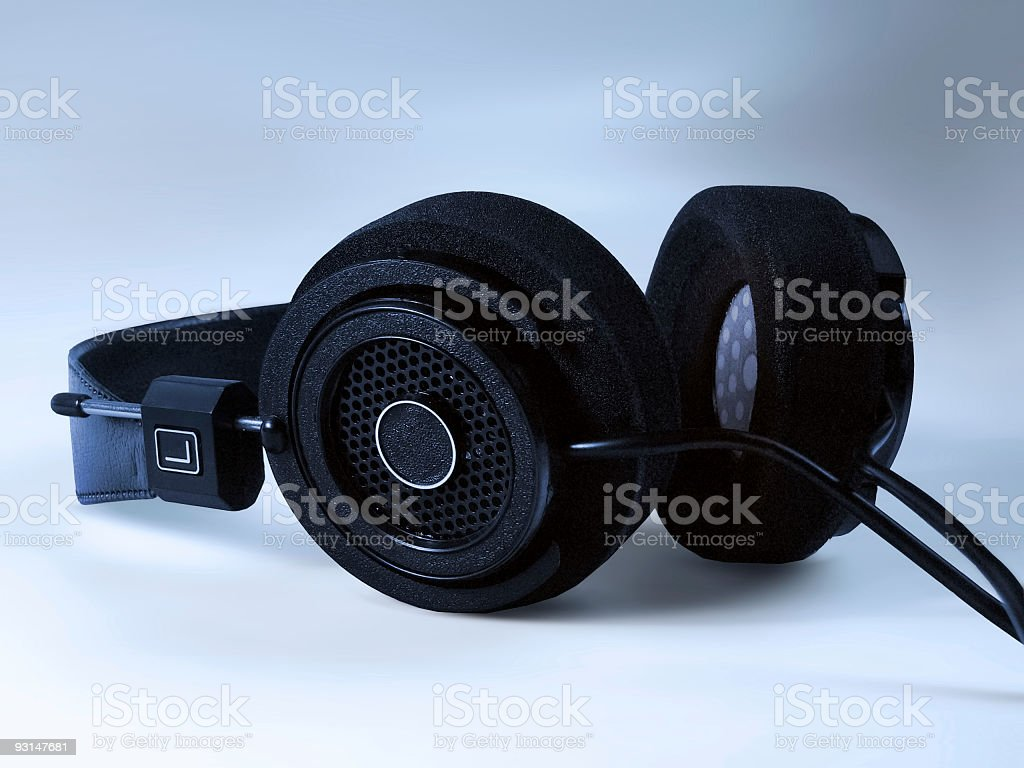 Funky Vintage Headphones With a Retro Design on Grey Background stock photo