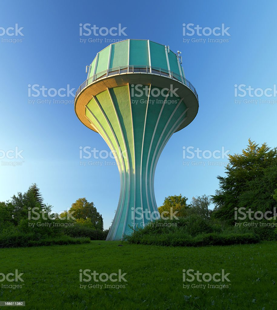 funky watertower, 60s architecture stock photo