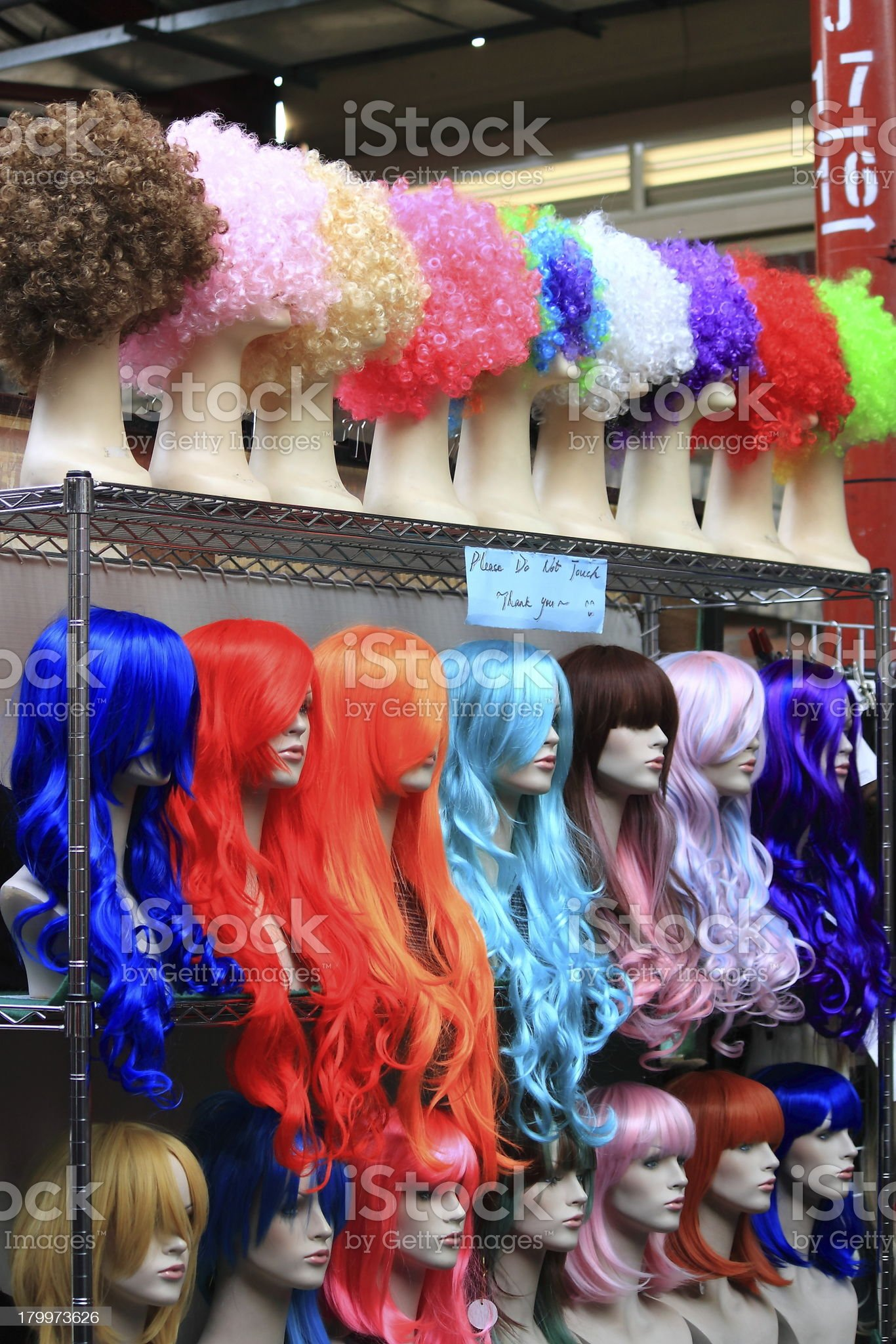 Funky wigs Victoria market royalty-free stock photo