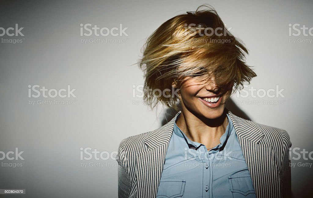 Funky,tousled,fashion. stock photo