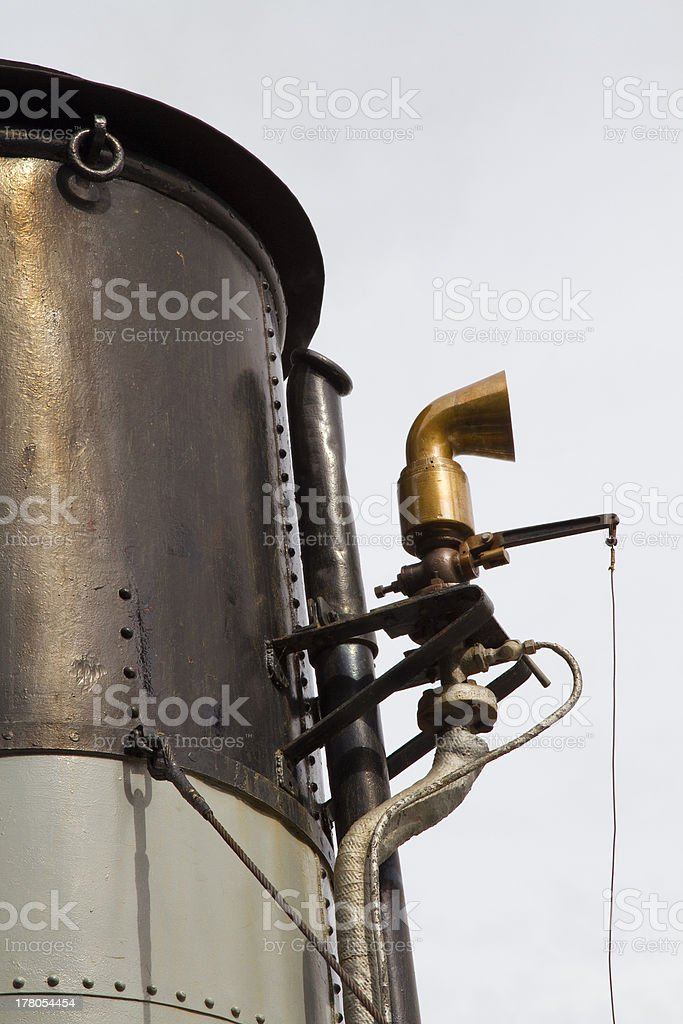 Funnel and whistle from a steamship stock photo
