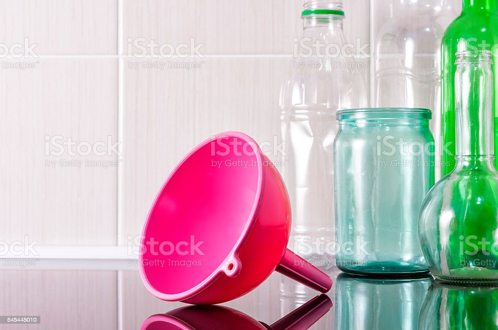 Funnel for pouring liquids. stock photo