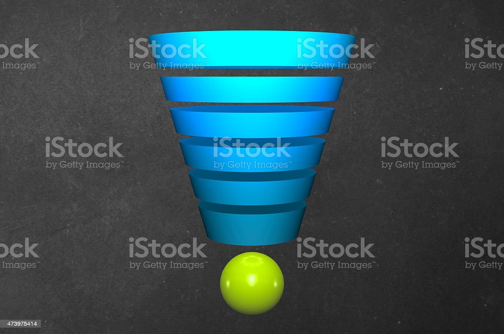 Funnel Graph with Sphere stock photo