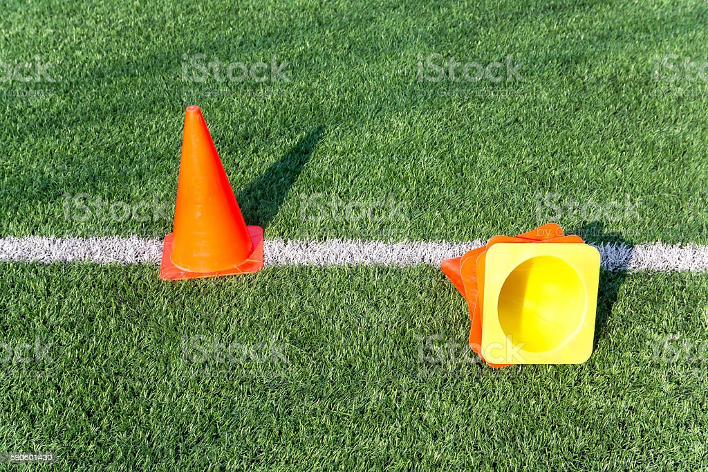 funnels on on soccer field stock photo