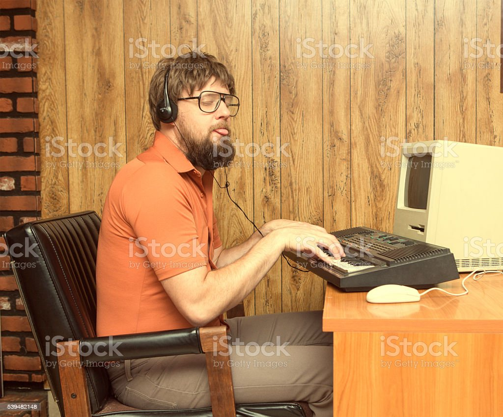 Funny 1980s Synth and computer dude stock photo