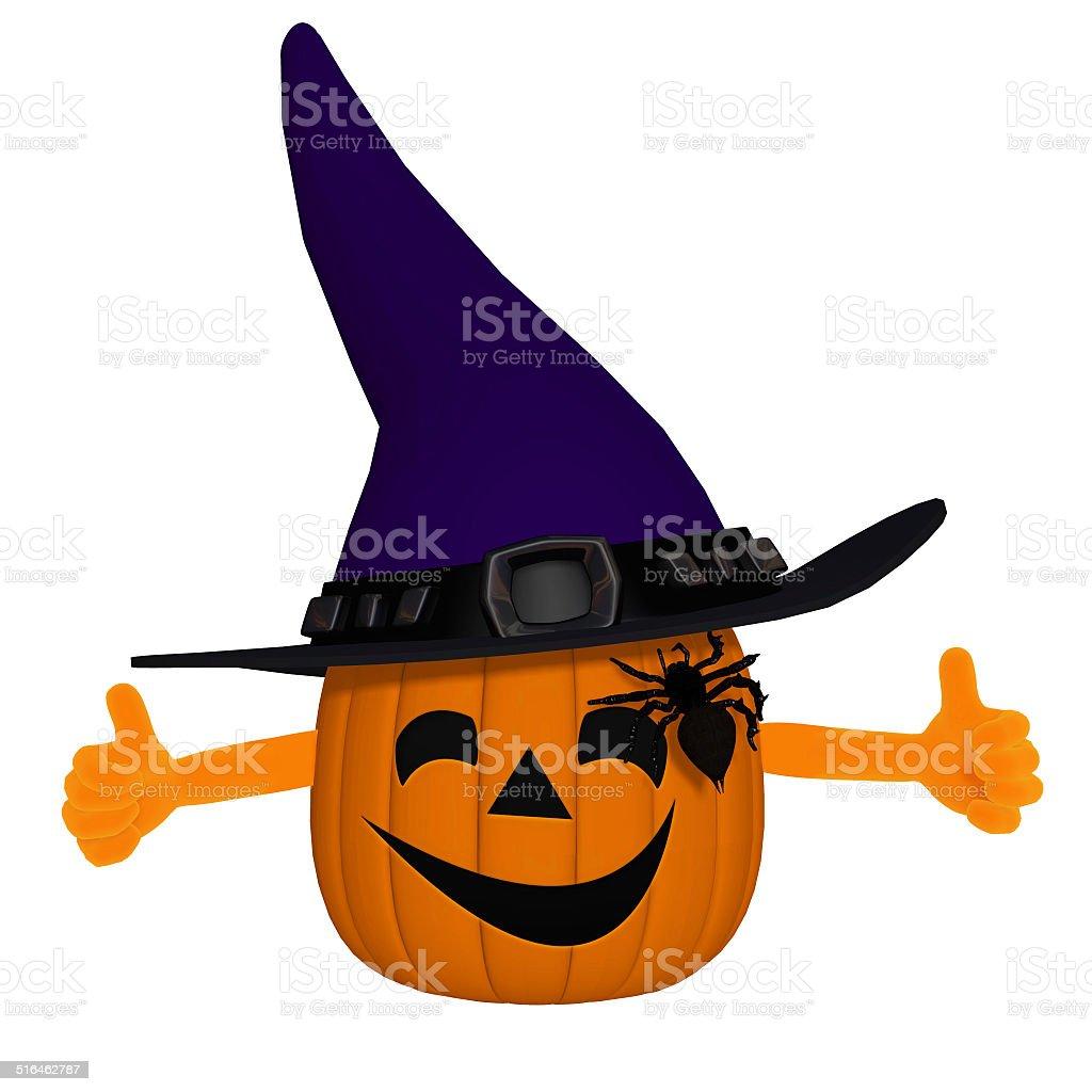 funny 3d cartoon pumpkin stock photo