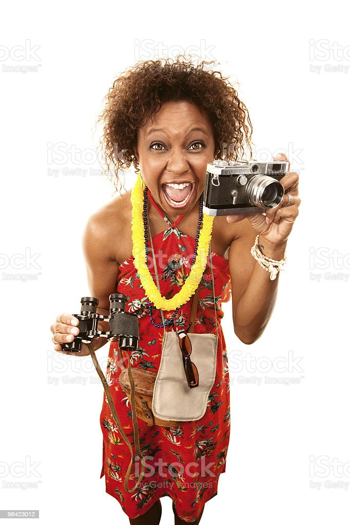 Funny African-American Tourist royalty-free stock photo