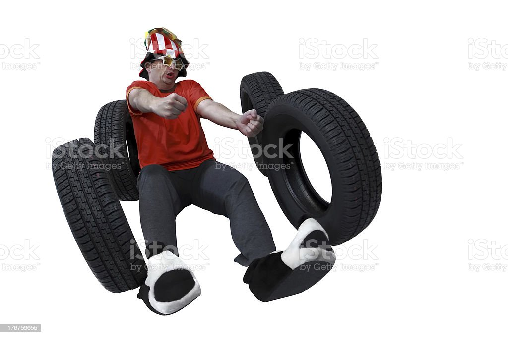 Funny and crazy driver royalty-free stock photo