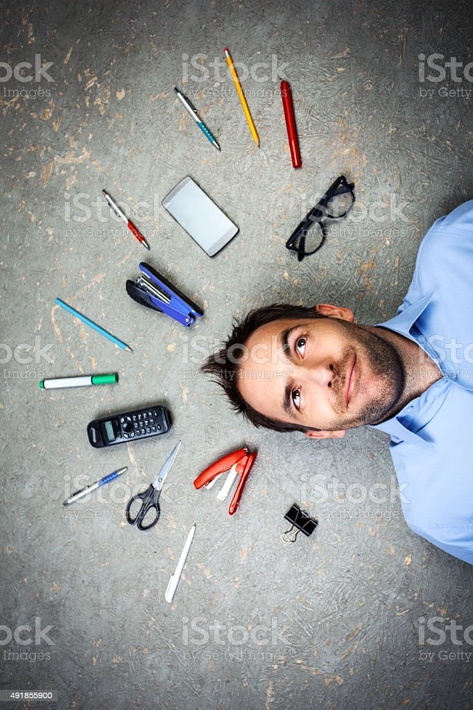 Funny and creative concept for businessman stock photo