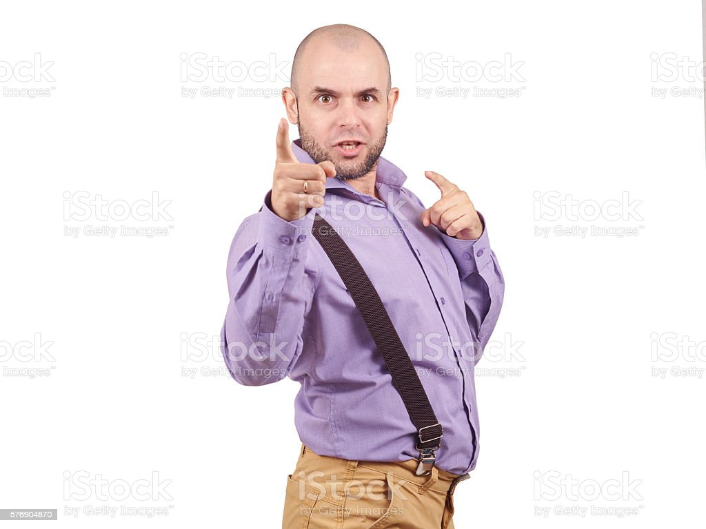 funny arrogant bald man with a beard. stock photo