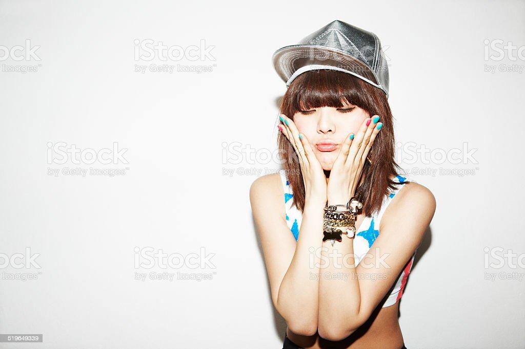 Funny asian girl stock photo