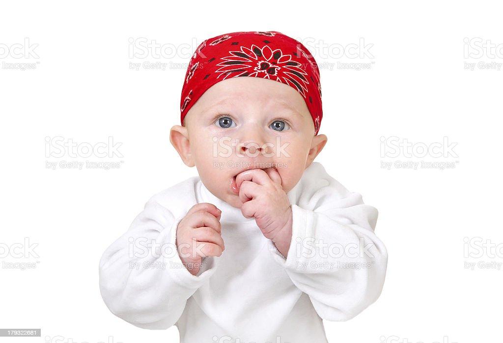 Funny Baby Boy in Headscarf royalty-free stock photo