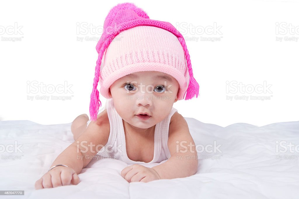Funny baby boy with hat look at camera stock photo