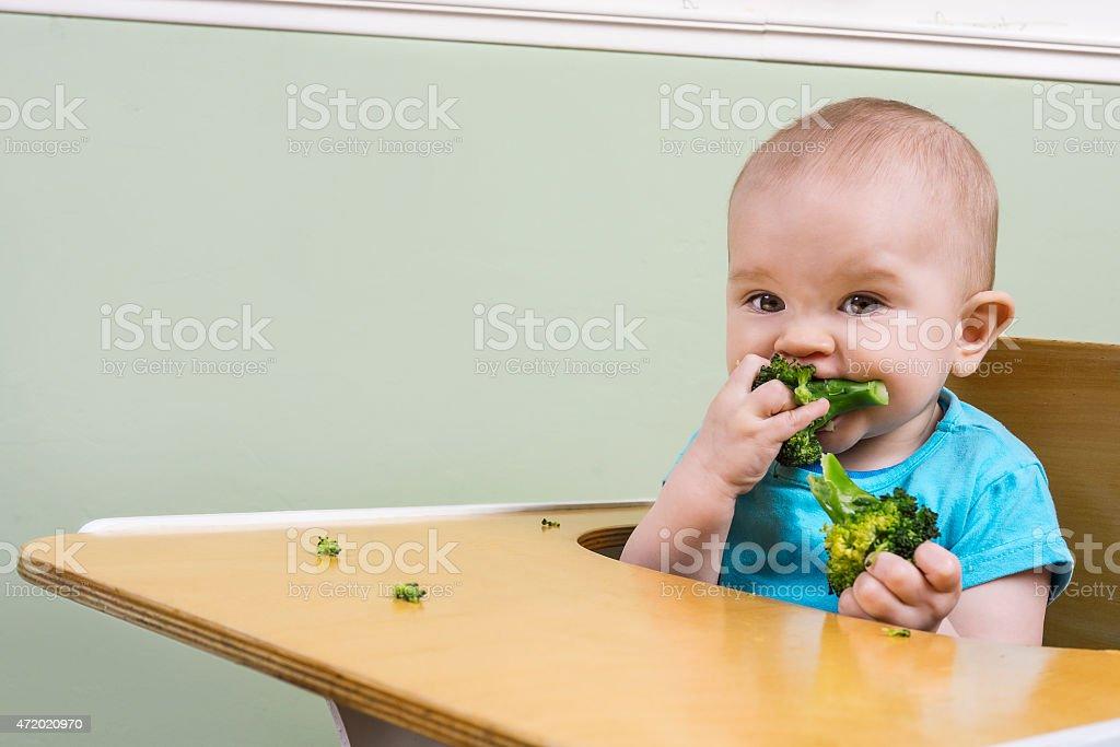 funny baby eating broccoli stock photo