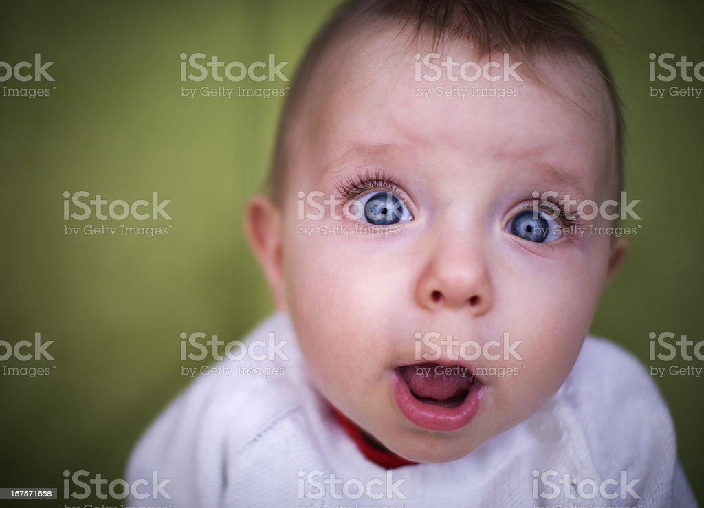 Funny baby on green royalty-free stock photo