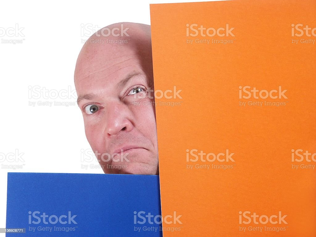 funny bald man with coloured paper royalty-free stock photo