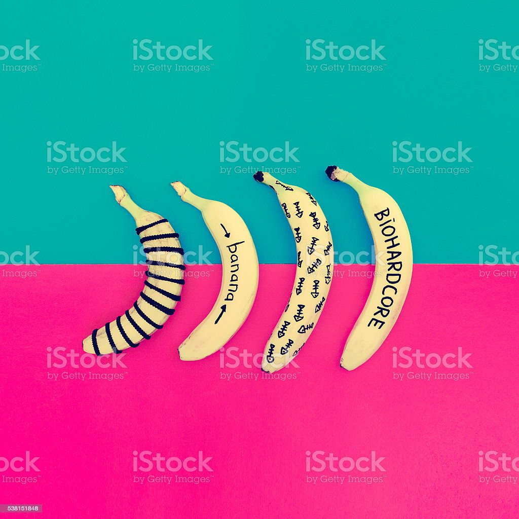 Funny Banana set. Minimalism fashion style stock photo