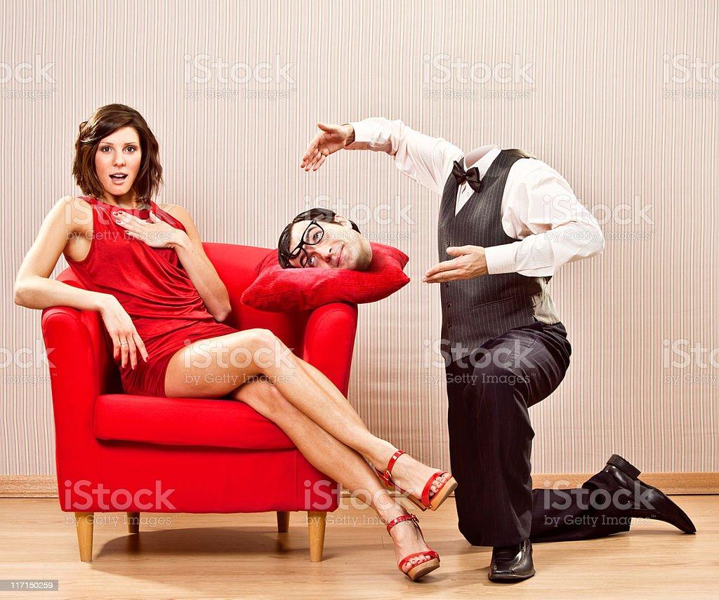 funny behead nerd romance give his head to beautiful girl stock photo