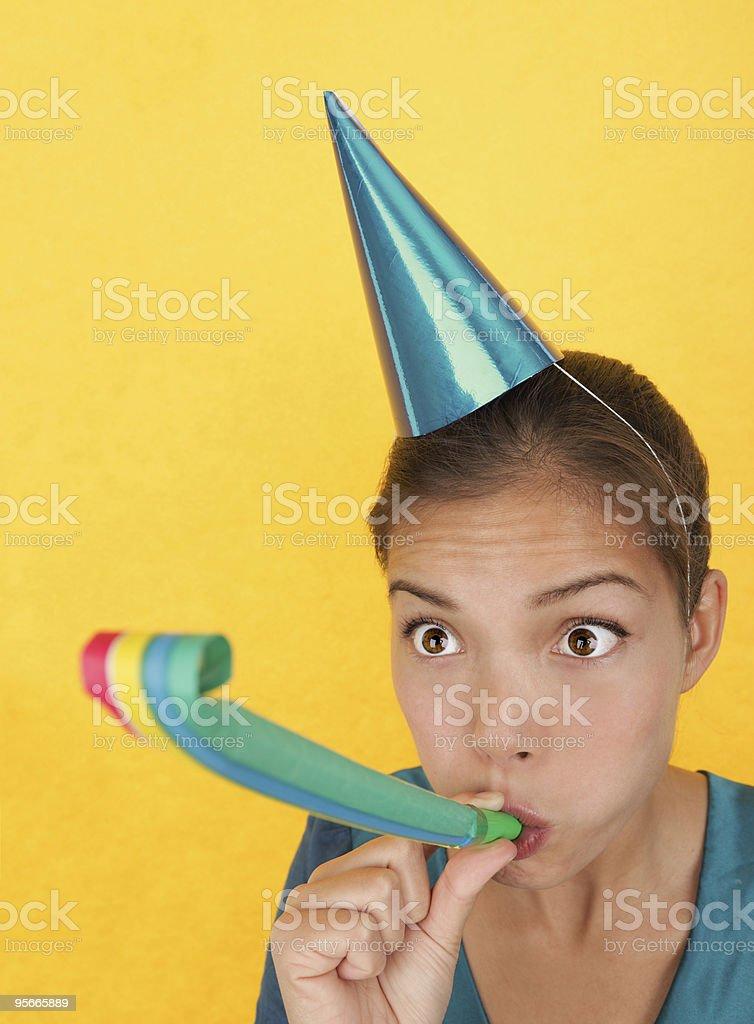 Funny birthday woman stock photo
