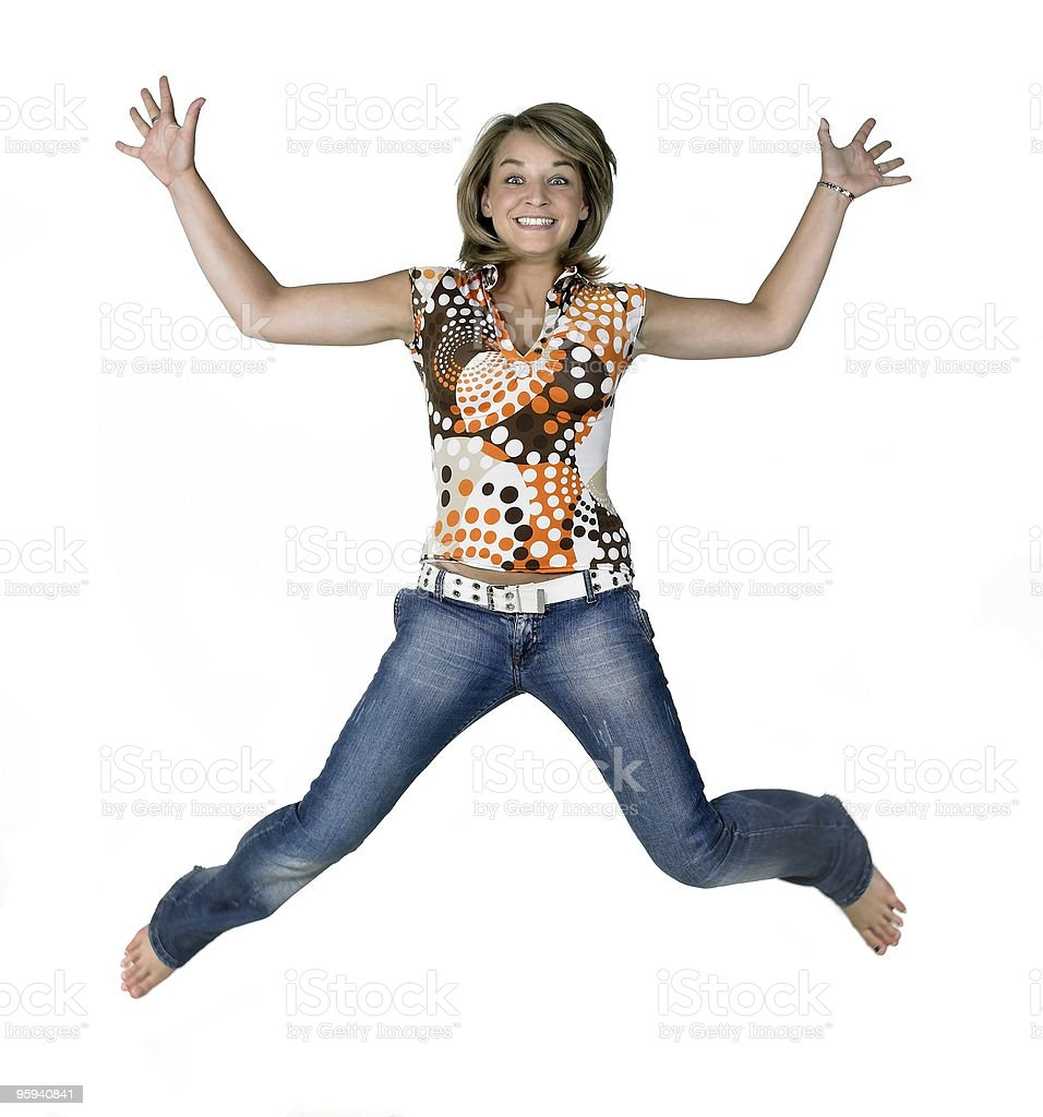 funny blond jumping girl royalty-free stock photo