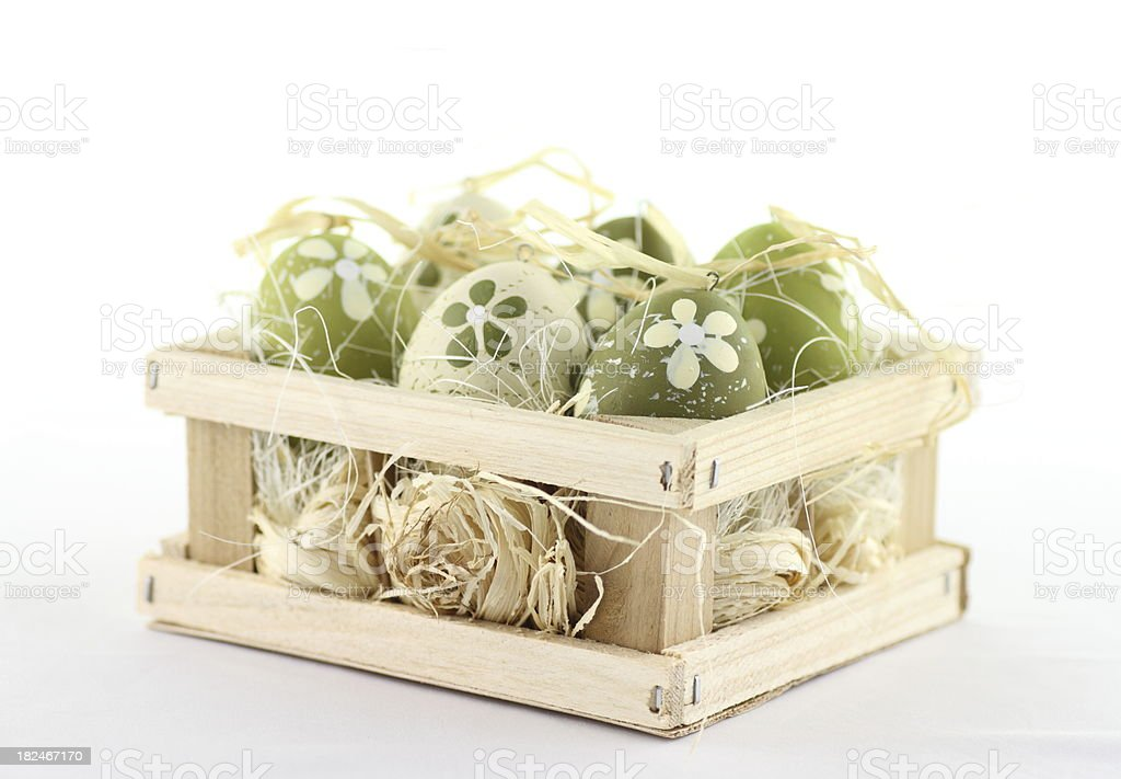 Funny bloomy easter eggs in a box stock photo