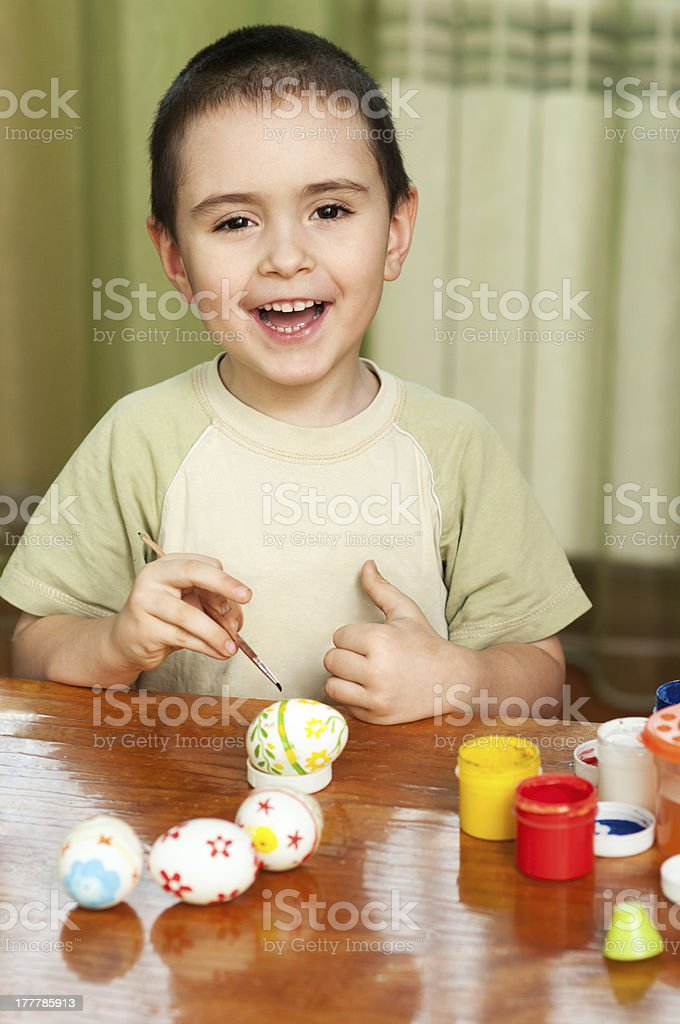 funny boy colored Easter eggs royalty-free stock photo
