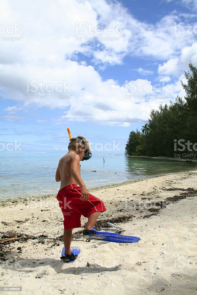 funny boy walking with fins royalty-free stock photo