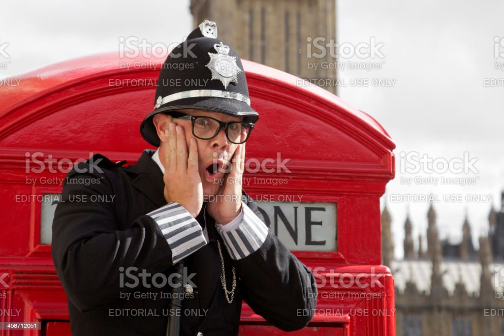 Funny british police officer stock photo