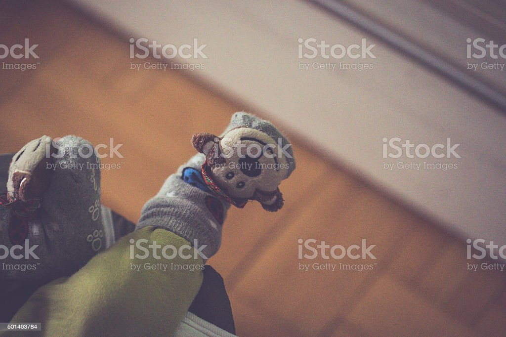 Funny buds on baby foot stock photo